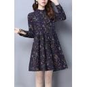 Fancy Women's A-Line Dress Ditsy Floral Pattern Long Sleeves Waist Banded Mock Neck Regular Fitted Short A-Line Dress