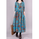 Tribal Style A-Line Dress All over Graphic Print Round Neck Long Sleeves Pleated Detail Long A-Line Dress