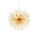 Gold Starburst Pendant Ceiling Lamp Novelty Modern 9 Lights Metal Chandelier Light Fixture