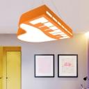 Piano Shaped Chandelier Pendant Cartoon Acrylic Nursery LED Hanging Light Fixture in Blue/Orange/Yellow