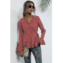 Pretty Girls Polka Dot Print Bell Sleeve Surplice Neck Tied Waist Fit Shirt