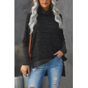 Basic Ladies Space Dye Knit Patched Long Sleeve Turtleneck High Low Hem Relaxed Pullover Sweatshirt