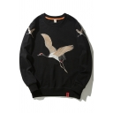 Trendy Men's Sweatshirt Ribbed Trim Crane Embroidered Label Long Sleeves Relaxed Fit Sweatshirt
