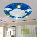 Cloudy Kindergarten Ceiling Lighting Wood 3 Lights Cartoon Flush Mounted Lamp in Blue