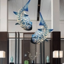 Blue Carp Fish Pendant Light Novelty Chinese Style 1-Light Metal Ceiling Suspension Lamp