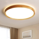 Nordic Circle Flush Ceiling Light Wooden Bedroom LED Flushmount Lighting in Warm/White/3 Color Light, 12