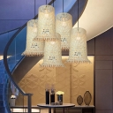 Asia Tall Scale Pendant Lighting Bamboo Single Living Room Hanging Ceiling Light in Wood