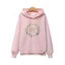 Floral Cat Letter Embroidered Long Sleeve Hoodie
