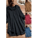 Trendy Women's Blouse Plaid Pattern Button Design Long-sleeved Side Split Relaxed Fit Drawstring Hooded Blouse