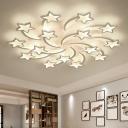 Kids Shooting Star Semi Flush Mount Acrylic 3/5/15-Bulb Living Room LED Ceiling Light in Warm/White Light