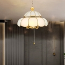 6-Light Scalloped Pull Chain Chandelier Vintage Gold Opal Frosted Glass Hanging Ceiling Light
