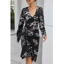 Womens Vintage Dress All Over Floral Print Long Sleeve Surplice Neck Drawstring Midi Sheath Dress