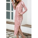 Leisure Girls Dress Stripe Print Long Sleeve V-neck Curved Hem Slit Sides Mid Shift Dress