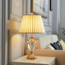 Modern Empire Shade Table Lamp Pleated Fabric Single Living Room Night Light in Beige with K9 Crystal Font