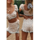 Pretty Womens Set Ditsy Flower Pattern Fitted Crop Top & Tied Waist Shorts Set in Apricot