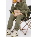Cool Womens Set Long Sleeve Drawstring Relaxed Hoodie & Sweatpants Plain Co-ords