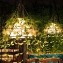 1-Light Diamond Suspension Pendant Vintage Green Iron Small/Medium/Large Plant Hanging Lamp over Table