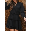 Popular Dress Solid Color Long Sleeve Drawstring V-neck Ruffled Short Pleated A-line Dress for Ladies