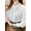 Retro Women's Shirt Blouse Jacquard Design Button Fly Contrast Panel Long Sleeves Regular Fitted Shirt Blouse