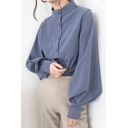 Unique Women's Shirt Blouse Solid Color Button Closure Mock Neck Long Bishop Sleeves Regular Fitted Shirt Blouse