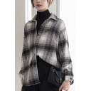 Leisure Women's Shirt Blouse Plaid Pattern Button Fly Spread Collar Long Sleeves Relaxed Fit Shirt Blouse