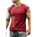 Casual Men's Tee Top Solid Color Round Neck Sleeveless Regular Fitted T-Shirt