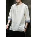 Elegant Men Tee Top Contrast Panel Horn Button Half Sleeves Round Neck Regular Fitted T-Shirt
