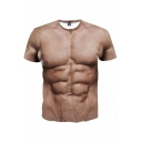 Stylish Tee Top Chest 3D Print Short Sleeve Crew Neck Slim Fit T Shirt for Men