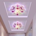 3/5w Modern Layered Flower Ceiling Light Clear and Amber Crystal Aisle LED Flush Mount in Warm/Blue/Pink Light