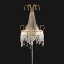 Clear Crystal Tassel Floor Light Postmodern Luxe 2-Light Gold Standing Lamp with Scroll Decor
