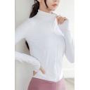 Simple Girls Jacket Plain Long Sleeve Stand Collar Zip Up Regular Fit Asymmetric Hem Jacket
