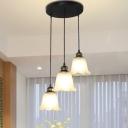 Black 1/3-Light Pendant Lighting Retro Opaline Glass Bell Suspension Lamp with Ruffle Trim, Round/Linear Canopy