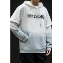 Mens Stylish Ombre Color Letter DEMISCHO Printed Long Sleeve Fake Two-Piece Casual Loose Hoodie with Pocket