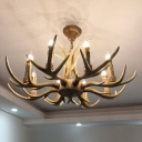 3/4/6 Bulbs Hanging Light Fixture Rustic Antler Resin Chandelier Lamp with Candle Design in Beige
