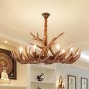 Brown Deer Horn Suspension Lamp Rustic Resin 9 Lights Living Room Ceiling Chandelier