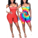 Trendy Women's Rompers Tie Dye Polka Dot Pattern Spaghetti Strap Sleeveless Square Neck Slim Fitted Rompers