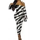 Fancy Women's Jumpsuit Butterfly Leopard Snake Skin Zebra Graphic Pattern Transparent off the Shoulder Long Sleeves Ankle Length Jumpsuit