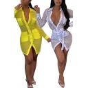 Creative Women's Shirt Dress Hollow out Transparent Detail Flap Chest Pocket Button Closure Spread Collar Long Sleeves Slim Fitted Mini Shirt Dress