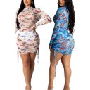 Stylish Women's Bodycon Dress All over Butterfly Print Transparent Ruched Detail Mock Neck Long Sleeves Mini Bodycon Dress