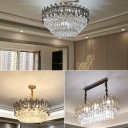 Multi-Tiered Living Room Hanging Lamp Clear Crystal Block 9/11/18-Head Postmodern Chandelier in Gold, 14