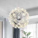 Chrome/Gold Plated Starburst Pendant Lamp Postmodern 18/24/64 Lights Flower Crystal Ceiling Chandelier