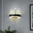 Black Arc LED Sconce Light Postmodern Clear Crystal Icicle Wall Mounted Lamp for Bedroom