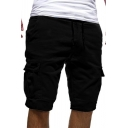 Stylish Mens Cargo Shorts Solid Color Flap Pockets Side Pockets Drawstring Waist Knee Length Shorts