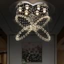 Crystal Beaded Butterfly Ceiling Light Modern 6-Bulb Bedroom Flush Mounted Light in Stainless Steel