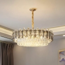 Gold 8/10/19 Lights Pendant Light Fixture Simple Clear Crystal Layered Chandelier Lamp