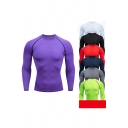 Basic Mens Fitness T-Shirt Flatlock Stitching Crew Neck Long Sleeve Skinny Fitted Quick Dry T-Shirt