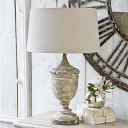 Distressed White Urn Nightstand Light Farmhouse Wooden 1 Head Living Room Table Lamp with Drum Fabric Shade