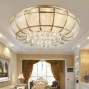 Seedy Glass Brass Ceiling Flush Light Round 18