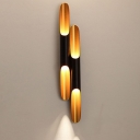 Postmodern Piping Wall Sconce Aluminum 1/2-Light Living Room Wall Lamp in Black and Gold Inner, 2