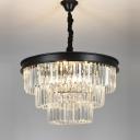 12 Lights Tiered Tapered Chandelier Pendant Minimalist Black Crystal Prism Suspended Lighting Fixture